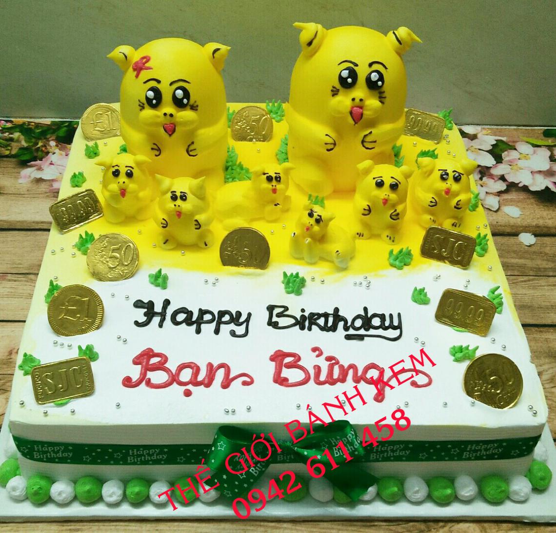 Bánh sinh nhật hình con heo vàng Mã B16195