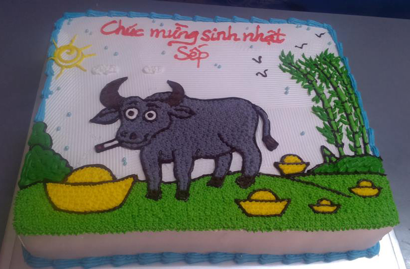 Bánh sinh nhật hình con trâu mã B1852