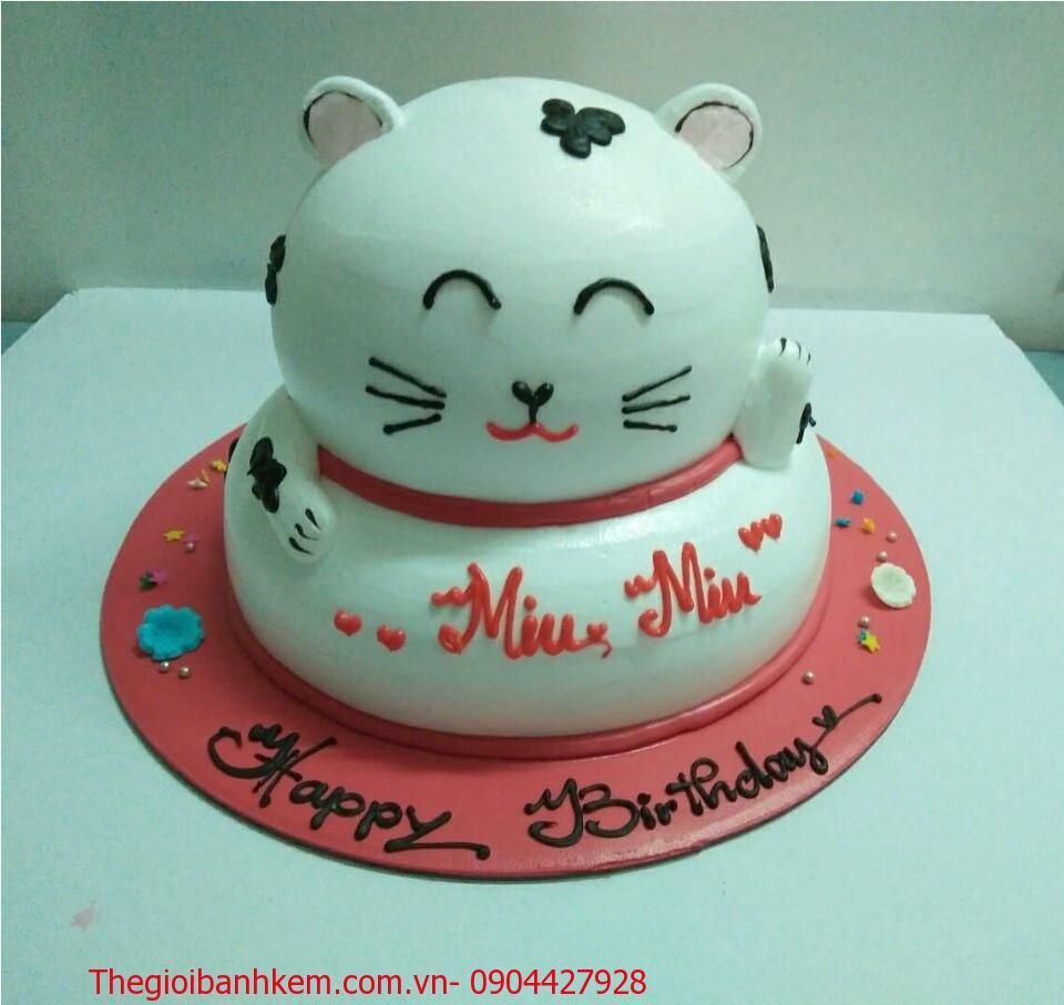 Bánh sinh nhật con mèo ngộ nghĩnh B4162