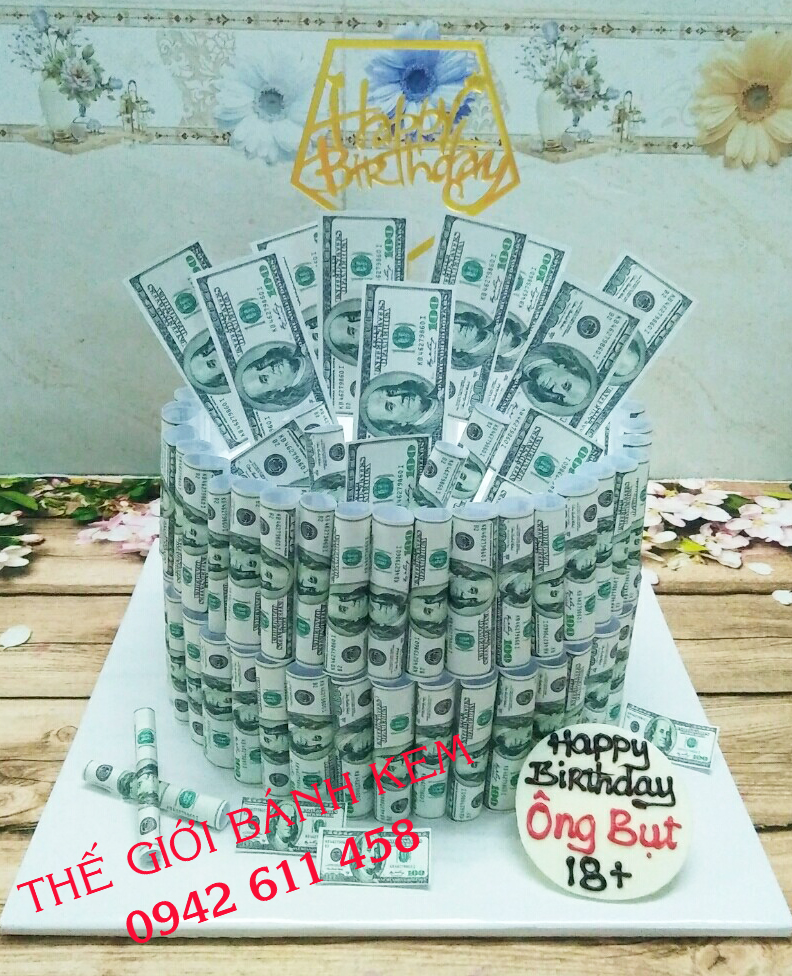 Bánh kem sinh nhật cây tiền Mã B16193