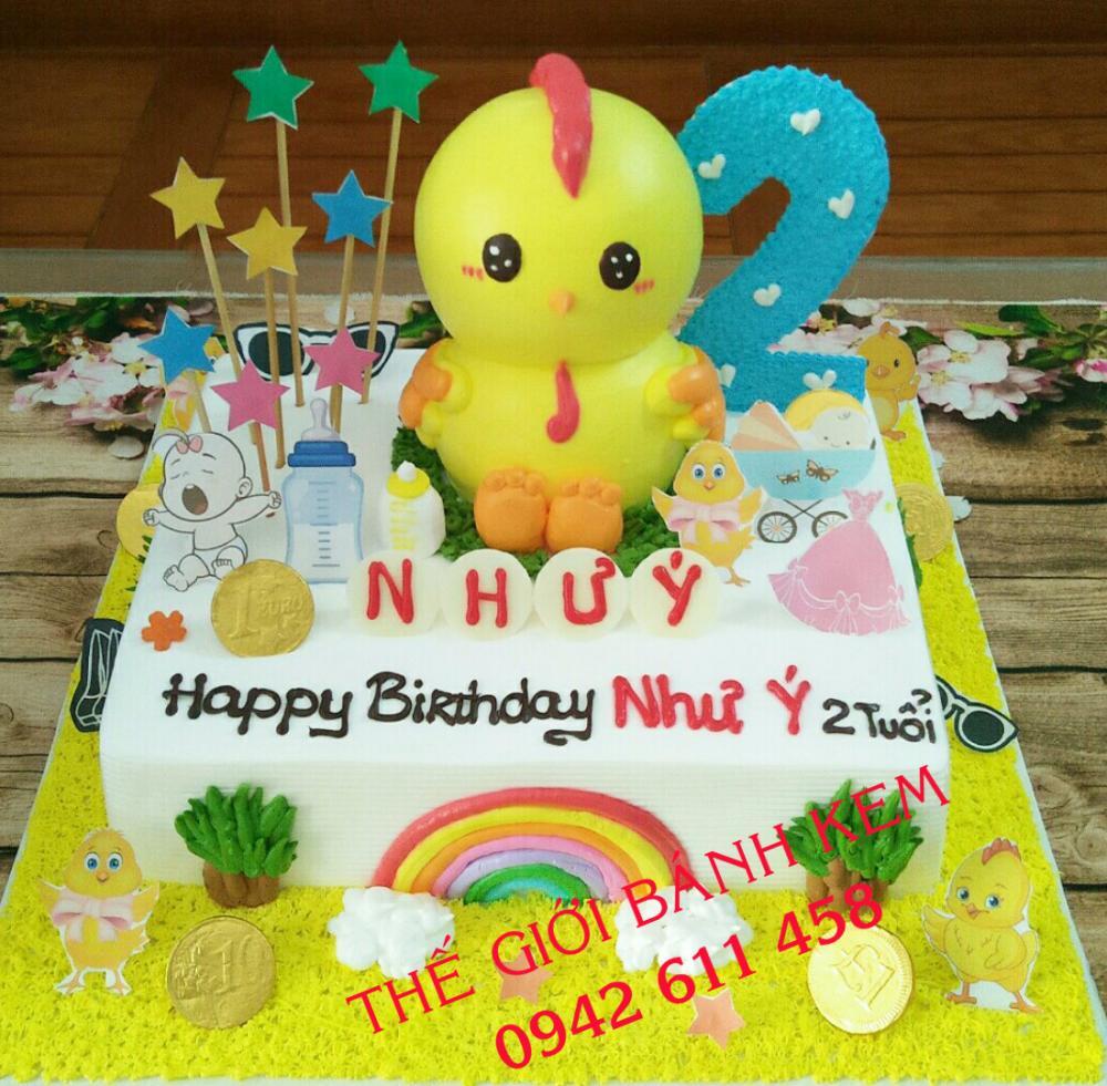 Bánh kem sinh nhật hình con gà mã B16196