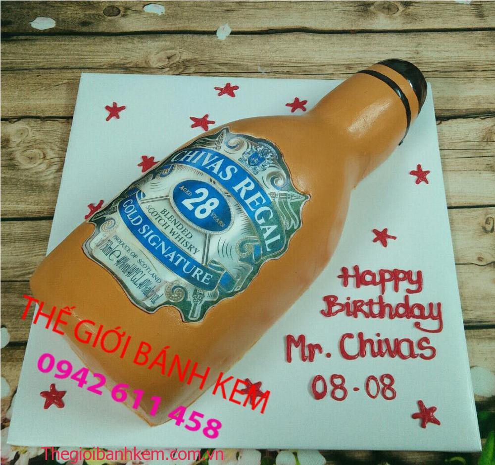 Bánh kem sinh nhật chai rượu Chivas mã B5204
