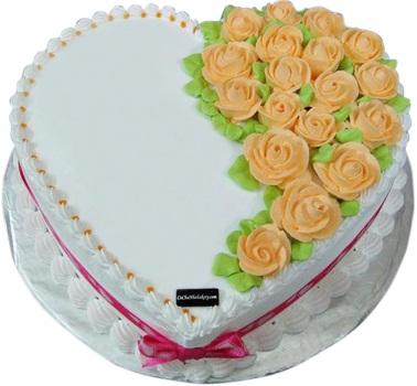 Bánh tim hoa hồng vàng mã B423