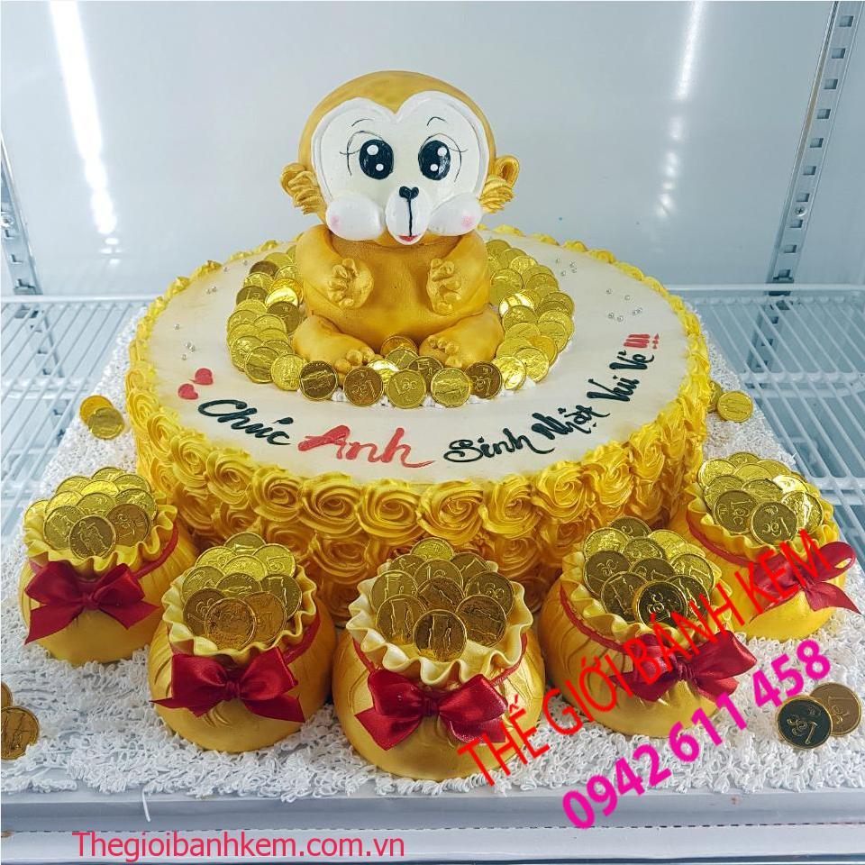 Bánh kem sinh nhật hình con khỉ mã B11064