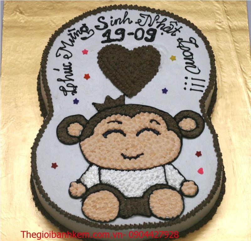 Bánh sinh nhật chú khỉ đáng yêu Mã B1730