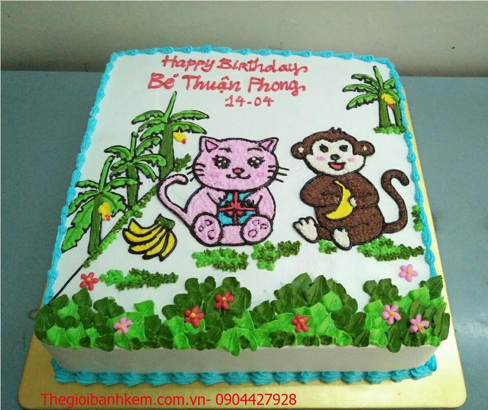 Bánh kem sinh nhật tuổi khỉ mã B1748