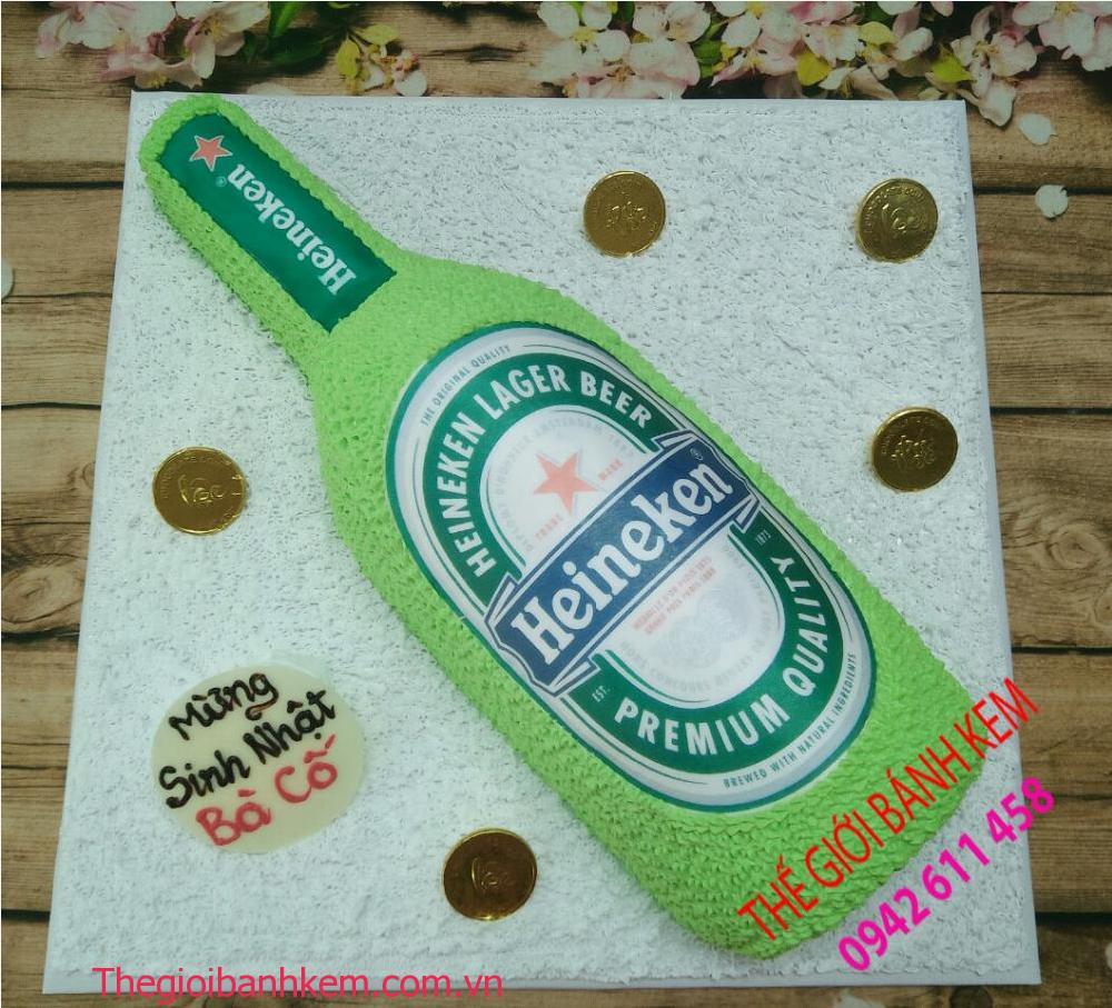Bánh kem sinh nhật hình chai bia heniken mã B11061