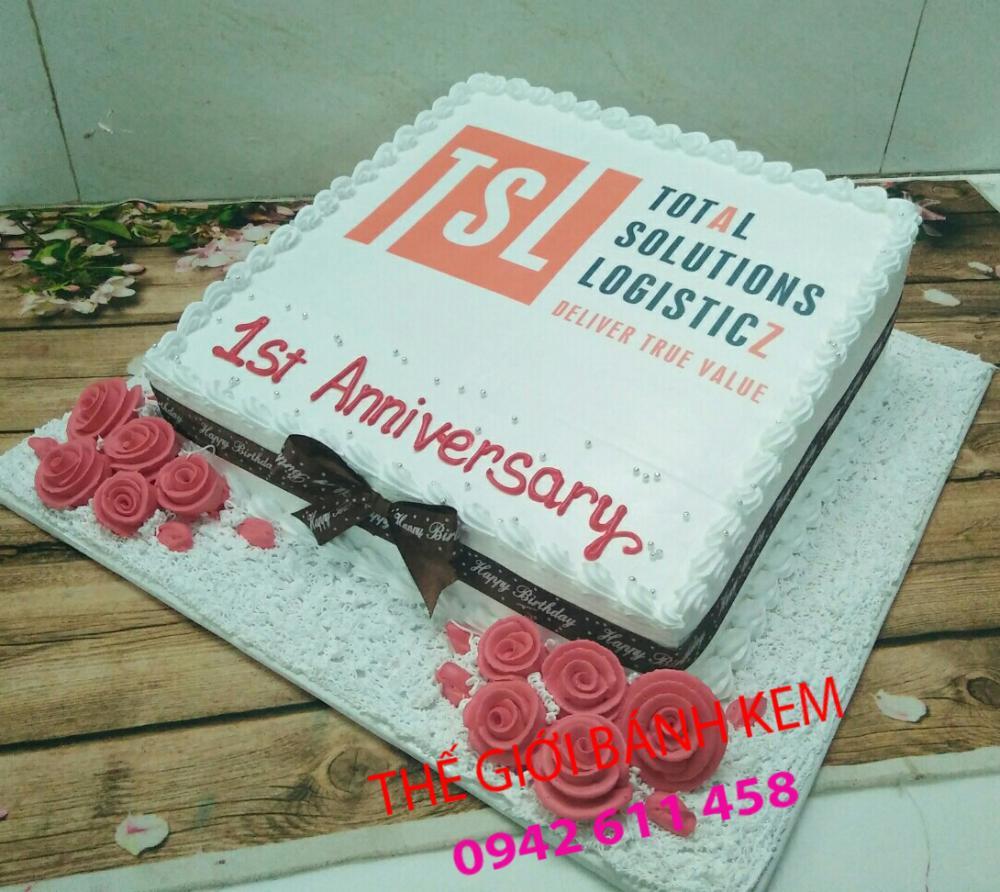 Bánh kem sinh nhật in logo công ty mã B5206
